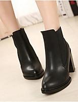 Для женщин Ботинки Удобная обувь Полиуретан Весна Повседневный На шпильке Черный 9,5 - 12 см