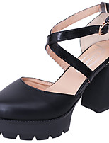 Women's Sandals Comfort PU Summer Casual Walking Comfort Split Joint Chunky Heel Black 3in-3 3/4in