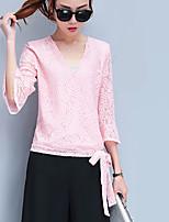 Damen Druck Sexy Anspruchsvoll Ausgehen Klub Bluse Rock Anzüge,V-Ausschnitt Bestickt Micro-elastisch