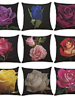 Set of 9 Colorful Rose Pattern Linen Pillowcase Sofa Home Decor Cushion Cover