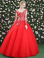 Formal Evening Dress - Floral Lace-up Ball Gown Jewel Floor-length Lace Satin Tulle withBeading Crystal Detailing Embroidery Flower(s)