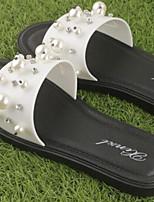 Women's Slippers & Flip-Flops Summer Slingback Rubber Casual Flat Heel Black White
