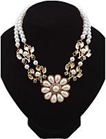 Жен. Ожерелья-цепочки В форме цветка Геометрической формы Жемчуг Хрусталь Сплав Мода Euramerican Pоскошные ювелирные изделия Бижутерия Для