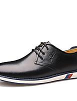 Черный Коричневый-Для мужчин-Для офиса Повседневный Для вечеринки / ужина-Кожа-На плоской подошве-Удобная обувь Светодиодные подошвы-Кеды