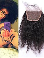 4b 4c афро кудрявый курчавый 4x4 кружева закрытия с ребенком волосы freemiddle / три части малайзийских remy волос 100% человеческих волос