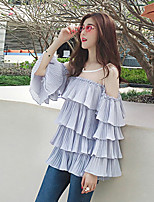 Women's Going out Casual/Daily Beach Sexy Vintage Cute All Seasons Summer Blouse,Solid Crew Neck Long Sleeve Rayon Thin