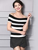 Damen Standard Pullover-Lässig/Alltäglich Einfach Solide Bateau Ärmellos Acryl Sommer Mittel Dehnbar