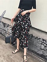 Women's A Line Solid Skirts,Going out Casual/Daily Simple Street chic Mid Rise Above Knee Zipper PU Micro-elastic Fall Winter