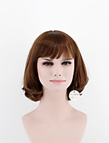 Japan and South Korea fashion lady short paragraph fake chestnut side points bangs natural wave high temperature wire wig