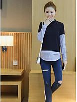 Damen Einfarbig Einfach Ausgehen Hemd,Rundhalsausschnitt Langarm Baumwolle