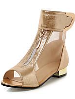 Women's Sandals Spring Summer Club Shoes Comfort Leatherette Office & Career Dress Low Heel Chunky Heel Hook & Loop ZipperSilver Black
