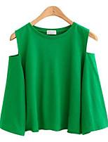 Tee-shirt Femme,Couleur Pleine Sortie Décontracté / Quotidien Grandes Tailles simple Chic de Rue Eté Manches ¾ Col Arrondi Polyester