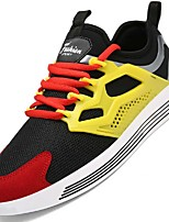Men's Sneakers Summer Comfort Light Soles Tulle Rubber Outdoor Athletic Casual Low Heel Lace-up Black/Yellow Gray Black