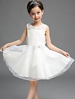 Девичий Платье На каждый день Полиэстер Однотонный Лето Без рукавов
