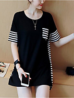 Women's Casual/Daily Simple Cute Spring Summer T-shirt,Striped Round Neck Short Sleeve Polyester Medium