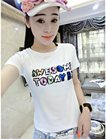 Women's Casual/Daily Simple T-shirt,Letter Round Neck Short Sleeve Cotton Bamboo Fiber