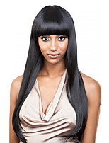 100% Human Hair Wigs Brazilian Virgin Hair Wigs Straight Style With Bang Guleless Full Lace Wig For Black Women