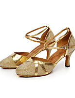 Non Customizable Women's Dance Shoes Leather Sparkling Glitter Latin Heels Stiletto Heel Indoor Purple Gray Black White Gold