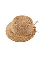 Для женщин Очаровательный Для вечеринки Для офиса На каждый день Шляпа от солнца,Весна Лето осень Соломка Однотонный