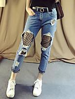 Feminino Simples Cintura Média Inelástico Jeans Calças,Harém Cor Única,rasgado Com Transparência