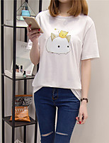 Women's Casual/Daily Simple T-shirt,Animal Print Round Neck Short Sleeve Cotton