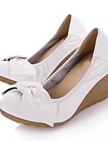 Белый-Для женщин-Повседневный-Полиуретан-На толстом каблуке На танкетке-Босоножки-Обувь на каблуках