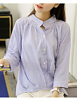 Women's Casual/Daily Simple Shirt,Striped Stand ¾ Sleeve Polyester