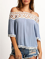 Women's Going out Club Holiday Sexy Simple Street chic Lace Hollow Out Backless T-shirtPatchwork Boat Neck  Length Sleeve Medium