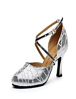 Non Customizable Women's Latin Leather Heels Indoor Buckle Cuban Heel Silver 2