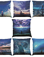 Set of 7 Fantasy Wonderland Pattern Linen  Cushion Cover Home Office Sofa Square  Pillow Case Decorative Cushion Covers Pillowcases As a Gift
