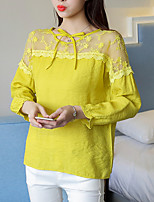 Feminino Camiseta Casual Simples Verão Outono,Sólido Algodão Decote Redondo Manga Longa Opaca