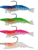 4 pcs Soft Bait Fishing Lures Soft Bait Green Orange Pink Royal Blue g/Ounce mm/4