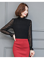 Women's Going out Cute Spring Blouse,Striped Crew Neck Long Sleeve Cotton Thin