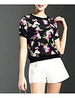 Women's Going out Vintage T-shirt,Solid Floral Round Neck Short Sleeve Others