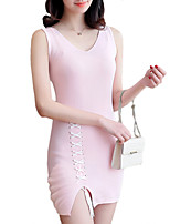 Women's Going out Casual/Daily Sexy Simple Bodycon Dress,Solid V Neck Mini Sleeveless Cotton Polyester Summer Mid Rise Stretchy Thin