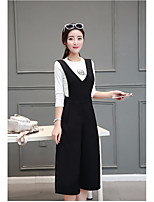 Women's Casual/Daily Simple Shirt Dress Suits,Solid Round Neck Inelastic