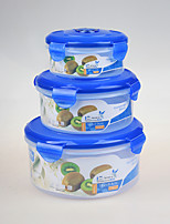3 pcs/Set Reusable Round Plastic Food Storage Containers