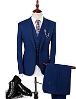 Suit Slim Fit Closure Collar Single Breasted One-button Soild Colour 3 Pieces Bule