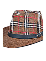 Men's Holiday Plaid Print Wide Brim Hat Buckle Jazz Vacation Shade Sun Cap