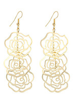 New Arrival Fashion Vintage Beautiful Plated Gold/Silver Hollow Rose Flower Drop Earrings For Women Dangle Long Earrings Wedding Jewelry