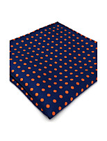 UH5  Fashion Unique Mens Pocket Square Handkerchiefs Dark Blue Orange Dots 100% Silk Business Handmade