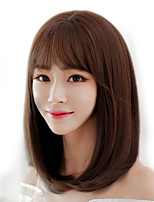 Japan and South Korea fashion ladies short paragraph wigs brown chestnut straight straight bangs high temperature wire wigs