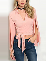 Women's Going out Casual/Daily Work OL Style Sexy Simple Street chic Backless Split Lace Up Spring Fall ShirtSolid Shirt Collar Long Sleeve Medium