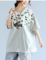 Feminino Camiseta Casual SimplesEstampado Algodão Decote Redondo Meia Manga