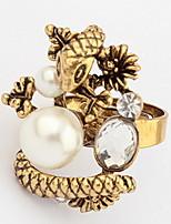 Euramerican Vintage Fashion Rhinestone Snake Spirit Bead Metal Cuff  Ring Statement Jewelry