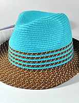 Striped Summer Straw Hat Cap Folding Beach Outdoor Tourism Wide Brim Hawaii Folding Soft Sun Hat