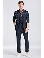 Suit Slim Fit Flat Collar Single Breasted One-button Hit color 3 Pieces