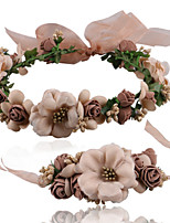 2pcs/set Jewelry Set Jewelry Flower Style Fabric Flower Brown White 1 Bracelet 1 Hair Jewelry For Gift Outdoor Beach Bikini Valentine Bride Wedding