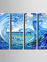 E-HOME Stretched Canvas Art Rolling Waves Decoration Painting Set Of 4