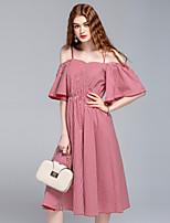 Для женщин На выход На каждый день Пляж Секси Уличный стиль Изысканный А-силуэт Платье С принтом,На бретелях Средней длиныС короткими